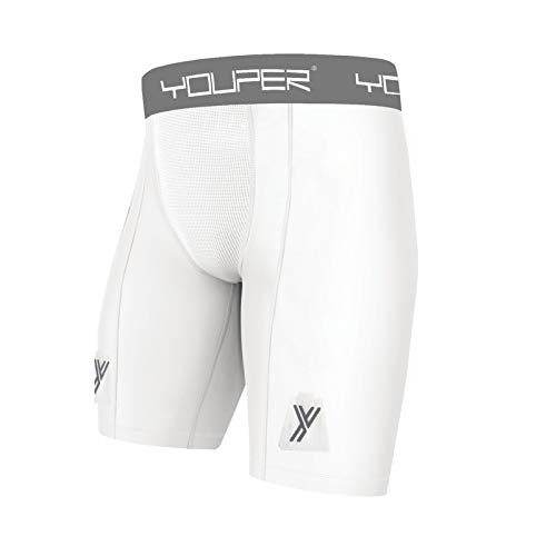 Youper Compression Hockey Shorts with Cup Pocket & Velcro, Youth & Adult Sizes (Adult - Medium) White