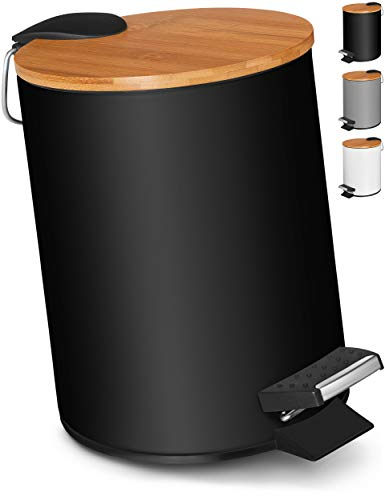VMbathrooms 3L Kosmetikeimer in edlem schwarzem Design/Tretmülleimer mit Absenkautomatik (Soft Close) / Eleganter Eimer fürs Bad mit Innenbehälter und Bambus-Holzdeckel