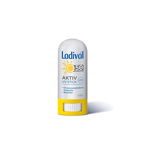 Ladival Aktiv UV-Schutzstift LSF 50+ – Sonnenschutz mit UV-A- und UV-B Schutz für empfindliche Hautpartien im Gesicht – ohne Farb- und Konservierungsstoffe – wasserfest – 1 x 8 g
