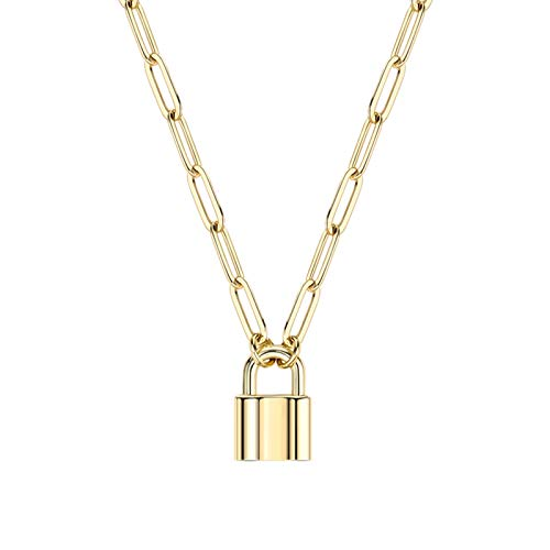 BOUTIQUELOVIN Padlock Necklace for Women | 14K Gold Plated Paperclip Chain Lock Pendant for Girls