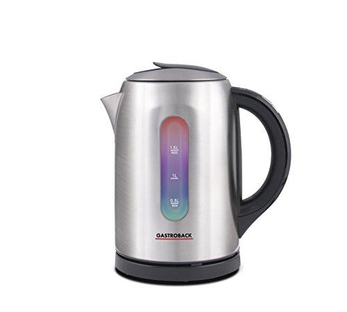Gastroback 42427 Colour Vision Pro, optische, farbige Temperaturanzeige, Kalkfilter, Warmhaltefunktion Wasserkocher, 18/8 Edelstahl, 1.5 liters, edelstahldesign