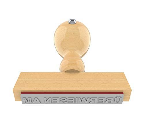 Holzstempel ÜBERWIESEN AM in 65x10 mm, 1-zeiliger Text in Arial fett, 18 pt, klassischer Firmenstempel