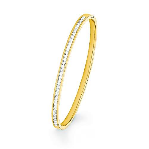 S.Oliver Damen Armreif aus Edelstahl IP Gold veredelt mit Swarovski Kristallen, Ø 6,2 cm Breite ca. 4 mm