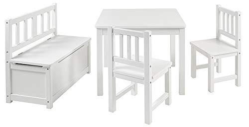 BOMI Kindertisch mit 2 Stühle mit integrierter Spielzeugkiste | Kindertruhenbank aus Kiefer Massiv Holz | Kindersitzgruppe für Kleinkinder, Mädchen und Jungen Weiß