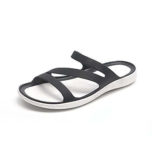 Ciabatte Infradito Pantofola Sandali Ciabatte con Plateau per Donna Infradito Tacco Basso Nere da Spiaggia E da Esterno -Nero_6