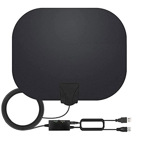 Antenna TV Interna, Antenna per DTT DVB-T DVB-T 2 per TV Digitale con Amplificatore Segnale, 80 Miglia Gamma Antenna Support 4K HD VHF UHF FM
