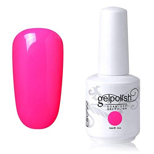 Elite99 Smalto Semipermente per Unghie in Gel UV LED Smalti per Unghie Soak Off per Manicure Rosa Magenta 15ML - 1558