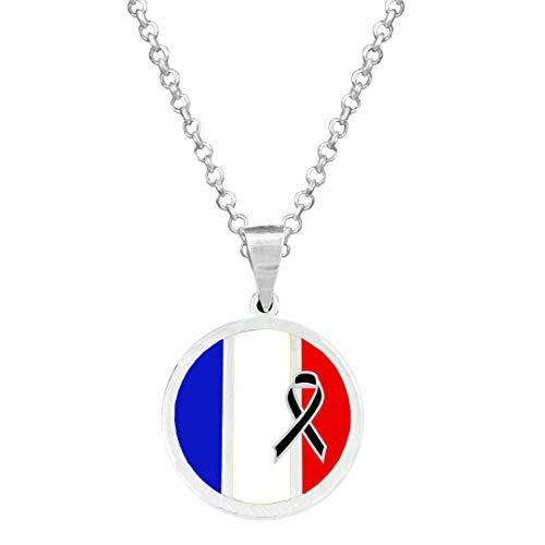 Yo Me Quedé en Casa Colgante Plata Bandera Francia Crespón Negro | Colgante Hombre de Plata | Colgante Plata Mujer | Collar Personalizado Lazo Negro | Regalo Original (Personalizado, 40.00)