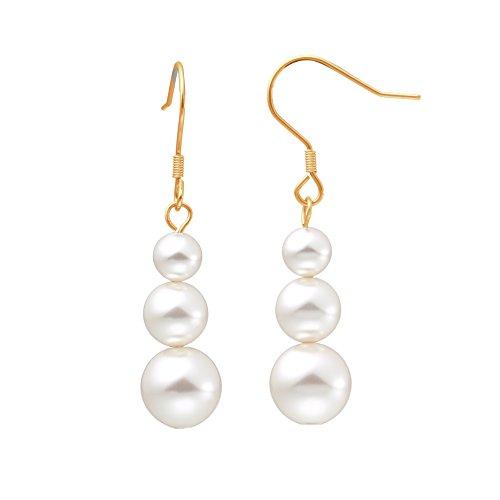 Heideman Ohrringe Damen 3 Perlen Ohrhänger aus Edelstahl gold farbend matt Ohrstecker hängend für Frauen mit Swarovski Perlen weiss rund 6 8 10mm