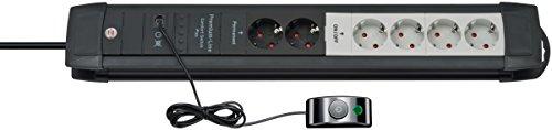 Brennenstuhl Premium-Line Comfort Switch Plus, Steckdosenleiste 6-fach (4 davon schaltbar, 3m Kabel, externer Schalter, Made in Germany) schwarz/grau