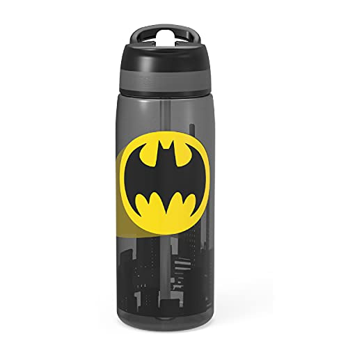 Zak Designs DC Batman Comics Reusable 25 oz Water Bottle Non-BPA with Leak-Proof Spout and Carry Loop for Travel, Durable Plastic for Indoor and Outdoor