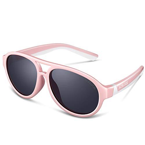 ACBLUCE Gafas de sol polarizadas para niños TPEE Deportes con correa ajustable para niños y niñas de 6 a 12 años