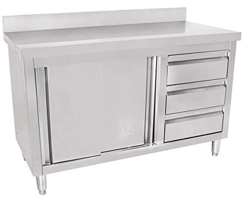Beeketal 'BAS120-60R' Gastro Edelstahl Küchenschrank mit 3 Schubladen (rechts), 2 Rolltüren und 4 verstellbaren Standfüßen, Küchen Arbeitsplatte mit 10 cm Aufkantung - (L/B/H) ca. 1200 x 600 x 950 mm