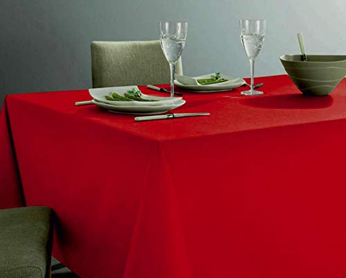 GoldenHome Tovaglia Rossa in 100%Cotone. Altissima qualità. Bordo Lavorazione gigliuccio. Misura 140 x 180 cm. Tavolo da 6 Persone