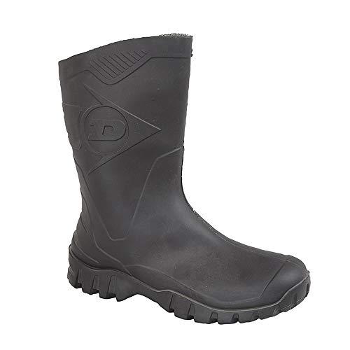 Dunlop Bottes en caoutchouc mi-mollet pour homme - Du 39 au 46,5 - Noir - Noir - Noir , 41 EU