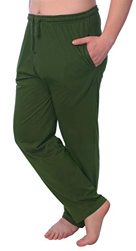 Men's Jersey Knit Pajama Pants Long Lounge Pants Available in Plus Size MLP01_18 Green 4X