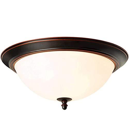 YYCHJU Plafón de Alto Rendimiento Techo Light-Europeo-Estilo Retro LED de la lámpara de Techo, Pantalla de Cristal Redondo, Balcón Pasillo luz de Techo Dormitorio, Tamaño: 50 x 21 cm