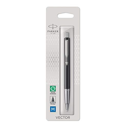 PARKER Vector bolígrafo, color negro con adorno cromado, punta mediana, tinta azul, en blíster