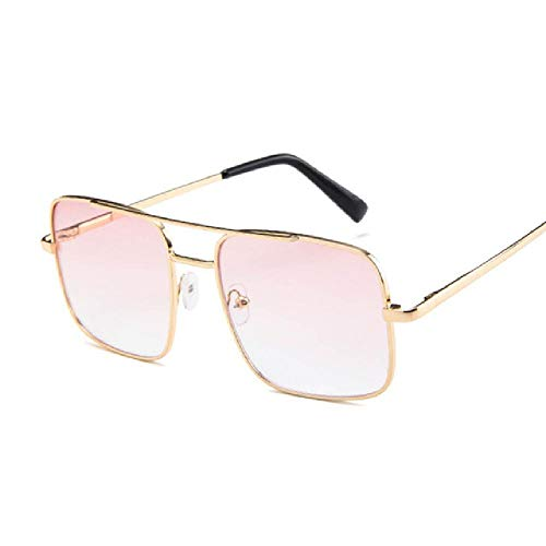 whcct Gafas de sol cuadradas de gran tamaño Mujeres Marco de lujo Gafas de sol gradientes transparentes Mujer