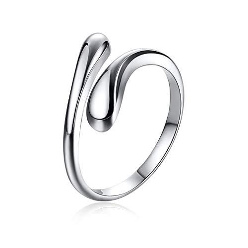 ChicSilver Gotitas de Agua Anillo Ajustable para Mujeres y Muchachas Plata de Ley 925 Decoración de Dedos Joyería Minimalista De Moda Forma Lágrimas