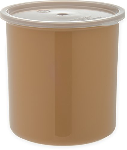 CARLISLE 030206 뚜껑이있는 솔리드 컬러 상업용 라운드 스토리지 컨테이너 2.7 쿼트 용량 베이지