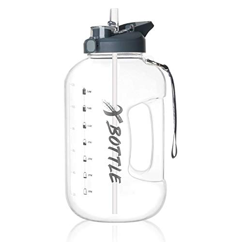 1 Gallon Water Bottle with Straw Chug lid, BPA Free Dishwasher Safe 128oz Large Water Bottle with Motivational Time Marker and Handle