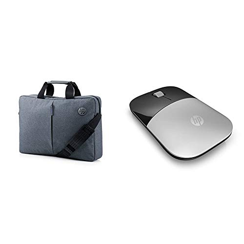 HP Essential 15.6 Inch (39.6 cm) Grey TopLoad Briefcase Messenger Bag & Z3700 Silver 2.4 GHz USB Slim Wireless Mouse with Blue LED 1200 DPI Optical Sensor, Up to 16 Months Battery Life