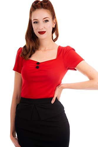 Ro Rox Doris Top Camiseta Pin Up 1950 Vintage Retro Rockabilly Pinup - Rojo (XS)