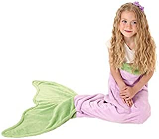 Mermaid Tail Blanket - Soft and Warm Polar Fleece Fabric Blanket by Cuddly Blankets for Kids and Teens (Ages 3-12) (Purple and Green)