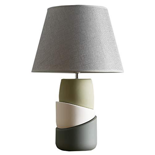 Hong Yi Fei-Shop Lámpara Escritorio Lámpara de Mesa nórdica Lámpara de mesita de Noche Interruptor de botón de lámpara de Mesa Decorativa de cerámica Creativa y Pantalla de Tela Gris Lámparas Mesa