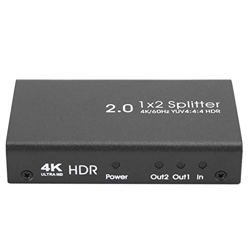 Fournyaa Conmutador HDMI, resolución 4K/60 FS 1×2 divisor HDMI, carcasa de acero audio video para barra KTV (regulación británica)