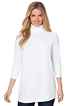 Woman Within Women s Plus Size Perfect Long-Sleeve Turtleneck Tee Shirt - 2X White