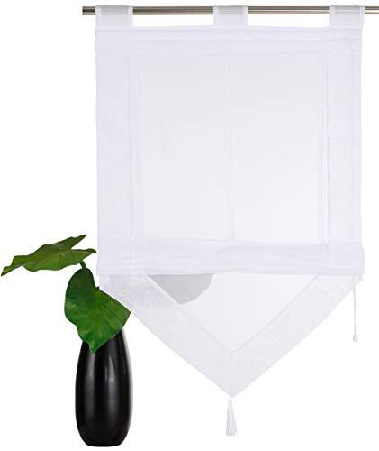 YouFia Scheibengardine Raffrollos mit Quaste Voile Transparent Dreieck Dekoschals Rollos Schlaufen Gardine BxH 60x140cm,Weiß