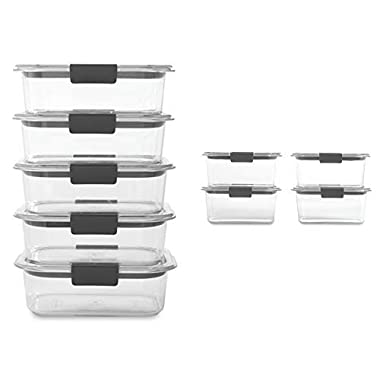 Rubbermaid Brilliance 3.2 and 4.7 Cup Food Storage Container Set, Clear, 18-Piece Set (9 Bases with Lids)