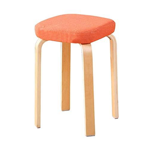 Taburete funcional Taburete Simple Moda para adultos Mesa de comedor de madera Banco Taburete de madera maciza de madera Silla de comedor para adultos extraible y lavable de abedul creativo (Color: r