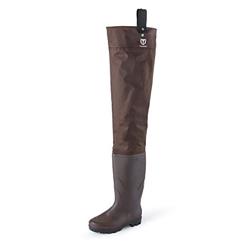 TIDEWE Hip Wader, Lightweight Hip Boot for Men and Women,2-Ply PVC/Nylon Fishing Hip Wader Brown Size 7