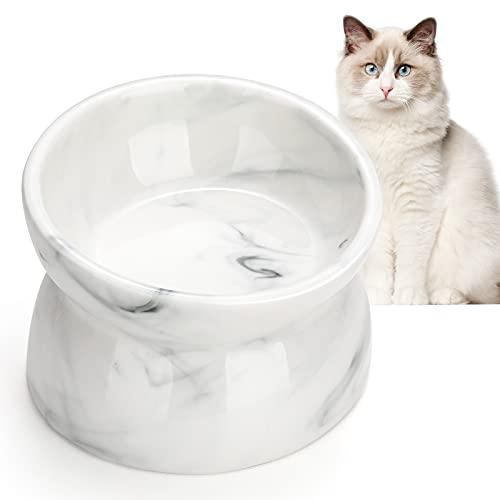 Pawaboo Ciotole per Gatto, Ciotola per Gatti in Ceramica Rialzata, Ciotola per Cibo per Gatti, Ciotola Inclinata per Gatti, Riduce la Pressione sulle Vertebre Cervicali del Gatto - Marmo Bianco