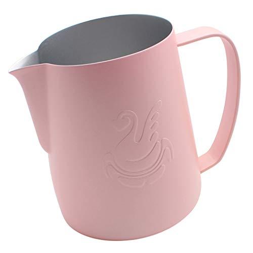 Dianoo Brocco Per Latte Lattiera In Acciaio Inossidabile, Brocca Fumante Espresso, Caffettiera, Tazza Di Latte Art 600ml Rosa