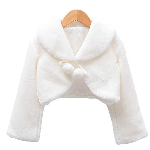 Unbekannt Frauen Poncho-Schal, Kind-Mädchen-Mode-Klassiker Schalshrug weiße Brautjunfer-Partei-Schulter-Kap-Verpackung mit Pompom-Jacken-Mantel for Taufe Kommunion Hochzeit Kleid (Größe : L)