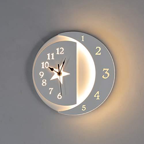 Lámpara de pared, 22W LED Aplique de Pared Reloj Moderna Interior Creativa Diseño Luna Estrella Luz de Pared Blanca Cálida para la sala de estar, Dormitorio, Habitación de niños, Pasillos, Cocina