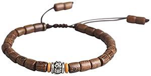 Lucky Buddhist Tibetisches Glücksarmband + Anhänger! Für Männer, Frauen, Teen Geflochtene Freundschaftsarmbänder. Holz Mantra Armband Om Mani Padme Hum. Handgefertigt, Einstellbares für das Handgelenk