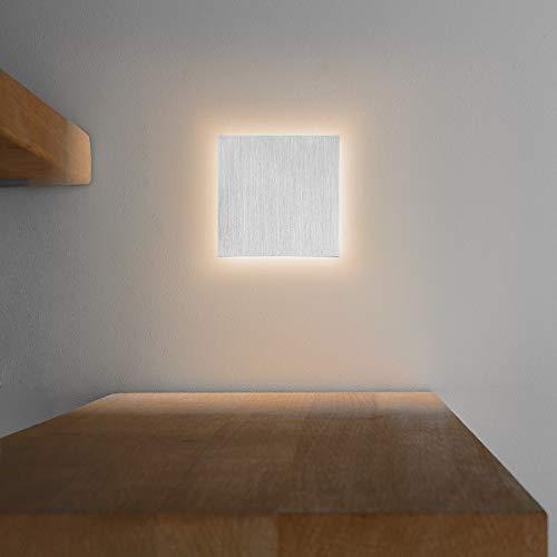 LED Treppenbeleuchtung aus Aluminium und Plexiglas für Schalterdoseneinbau 68mm - Quadratisch - Eckig -Warmweiß 3000k [Stufenbeleuchtung - Wandbeleuchtung - indirekt]