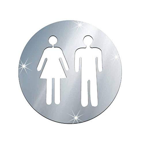 Wc-Sticker Vrouw En Man Toiletbord Spiegel Muursticker 3D Verwijderbare Badkamerspiegelstickers Voor Home Hotel Washroom Deurbord Spiegelsticker-B Zilver
