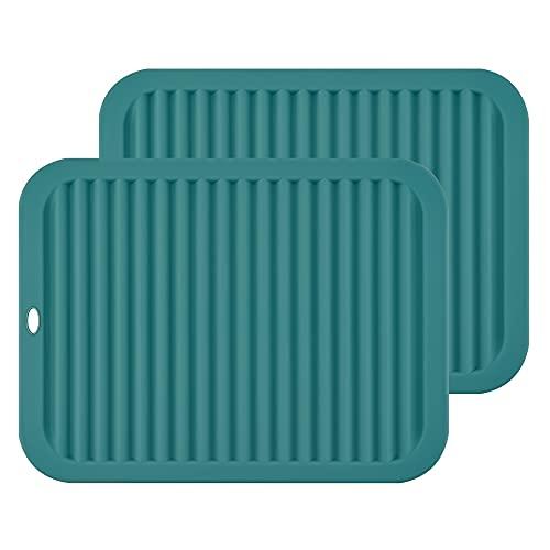 Smithcraft Salvamanteles grandes de silicona para mesa, manteles individuales, soporte para ollas, uso multiusos y muchos colores para elegir (verde azulado-rectangular)