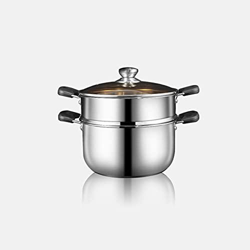 Cocina Utensilios de cocina Olla para pasta Vaporera de acero inoxidable Olla para cocinar Olla común Inserto de vaporizador y tapa de vidrio ventilada Vapores de alimentos...