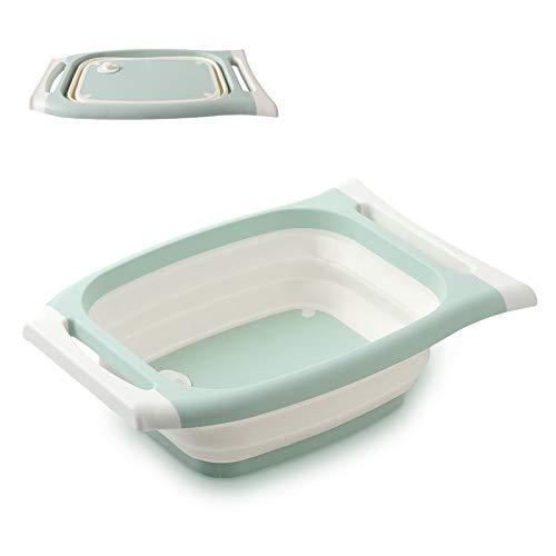 Besylo Multifuncional Plegable Tabla Cortar, 3 en 1 Tabla de cortar plegable para fregadero, Tabla de Cortar Portátil, Tabla de Cortar Multifuncional,rectangular, plegable, lavabo, cubo de hielo(Azul)