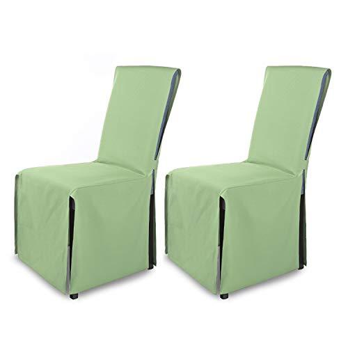 SCHEFFLER-Home Mila Set di 2 coprisedie/Coprisedie Moderne/Copertura Sedia con Fiocco/Rivestimento della Sedia/Verde Menta