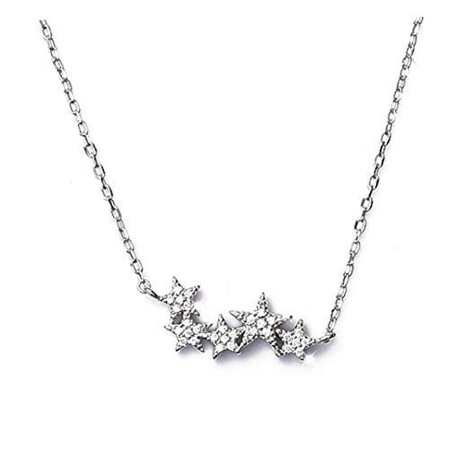 Yililay Sterling Silber Kleinen Kristall Stern Halskette Hals Frauen Schmuck Geschenk
