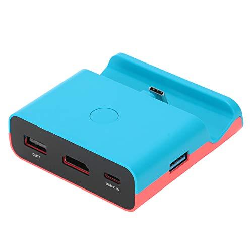 Hyuduo1 Adaptador convertidor de Video HDMI para máquina de Juegos Switch/Lite, Mini convertidor de Video portátil con Soporte de Base de Carga(Azul)