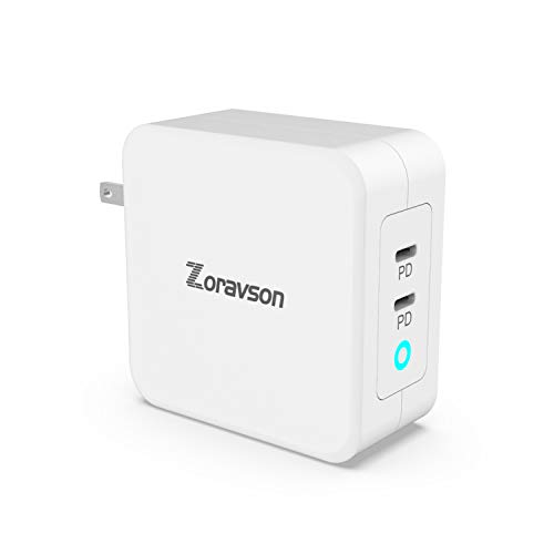 100W USB C Dual 2-Port Wall Charger PD 3.0 GaN Tech Type C Fast Charging Adapter (45W 65W & 96W) Compatible with MacBook Pro Air iPad Pro iPhone11 Pro Max XR XS X SE2 Galaxy S9 S8 Nintendo and More